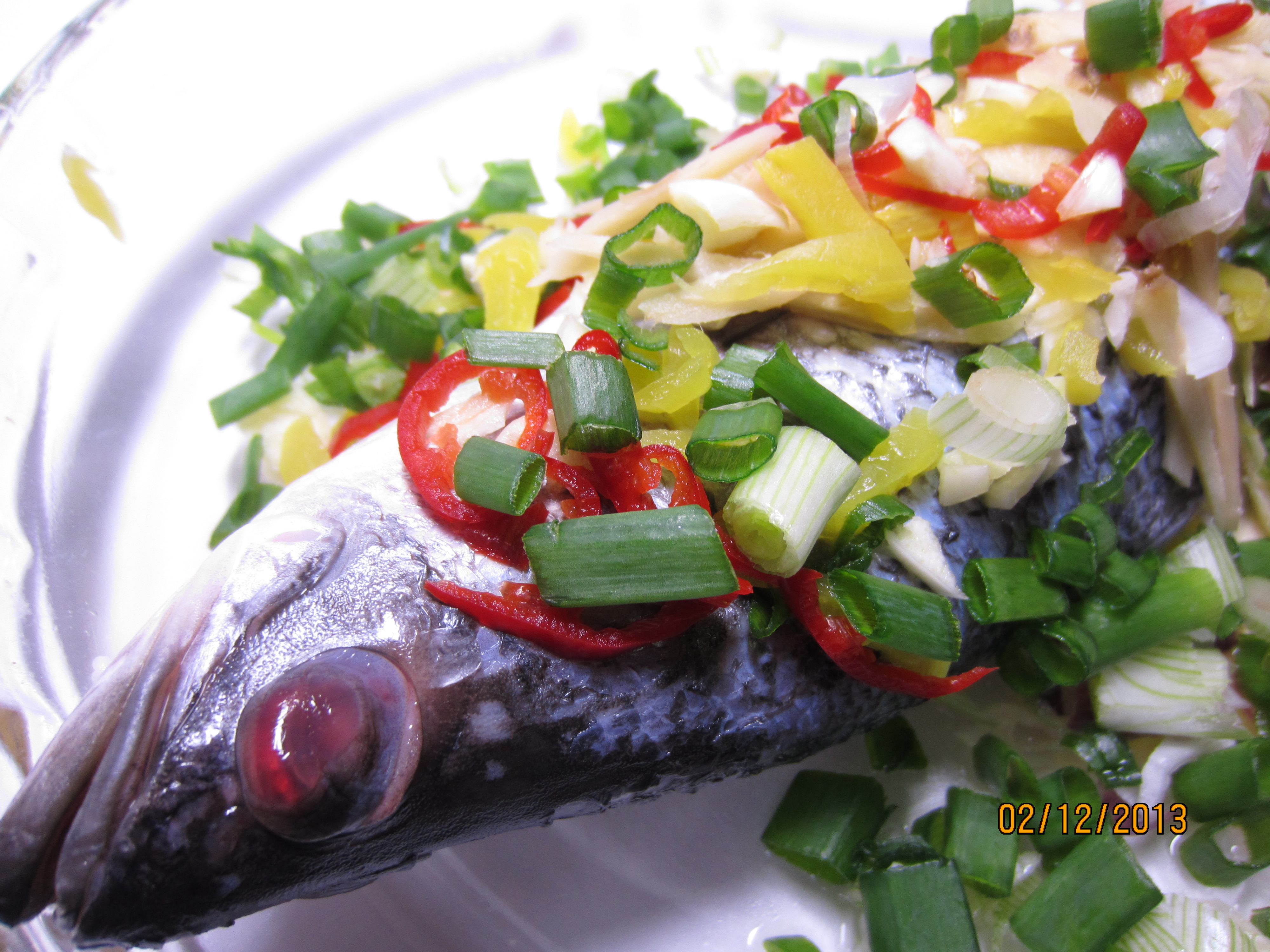 Steamed Seabass with Salted Vege